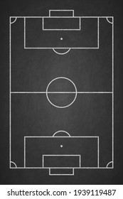 Soccer field chalked on blackboard. Football stadium on board. Vertical background of painted chalk sketch line. Overhead view. Chalkboard texture. Pattern sport play. Top plan. Fotball court. Vector