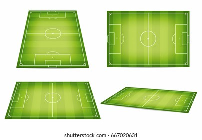 Soccer field collection. Football fields. Top view and perspective view. Vector