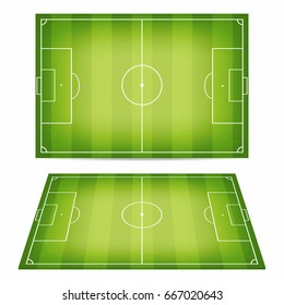 Soccer field collection. Football fields with trampled down grass. Top view and perspective view. Vector