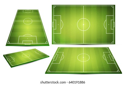 Soccer field collection. Perspective elements. Vector illustration