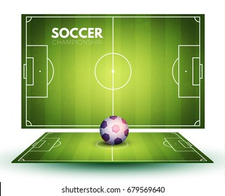 Soccer field collection and realistic ball. Perspective elements. Vector illustration