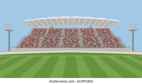 Soccer Field with Crowd on Grandstand. Vector