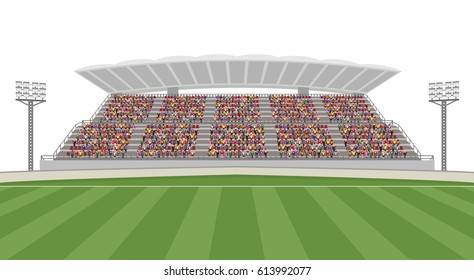 Soccer Field with Crowd on Grandstand. Isolated White Background Vector