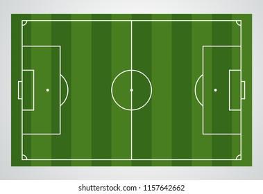 Soccer field, European Football stadium. Green court for sport game. Playgroung template. Vector