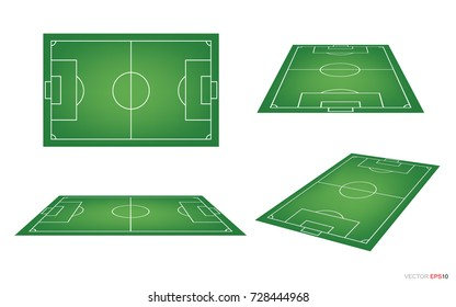 Soccer field or football field collection isolated on white background. Perspective elements. Vector illustration.