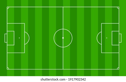 Soccer field. Football pitch. Stadium with green grass. Green texture with stripes and white lines, corner, penalty, center. Plan of football area for training and championship. Football match. Vector