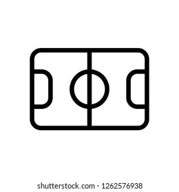 Soccer field, football stadium, linear outline icon of sport. Black icon on white background