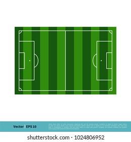 Soccer Field, Football Field Top View Vector Template