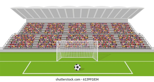 Soccer Field With Goal, Ball and Crowd on Grandstand. Isolated on White Background Vector