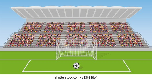 Soccer Field With Goal, Ball and Crowd on Grandstand. Vector
