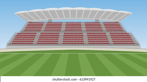 Soccer Field with Grandstand.  Vector