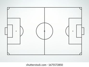 Soccer field in line style. Football field on white background. Top view.