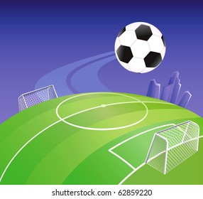 Soccer field on globe with detailed goals. Vector illustration.