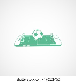 Soccer Field On Mobile Phone Display Green Flat Icon On White Background