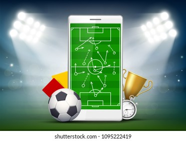 Soccer field on smartphone screen. Playing tactics in football. Ball with yellow and red cards at the stadium. Stock vector illustration.