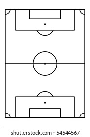 Soccer field, right proportion and field measures. Vector.