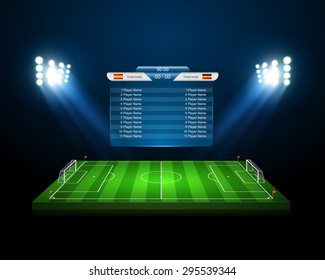 Soccer field with scoreboard,vector