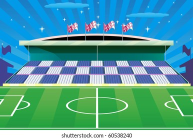 Soccer field and tribune detailed with blue and white seats. Vector illustration.
