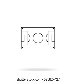 Soccer field vector icon. Simple flat stadium pictogram.