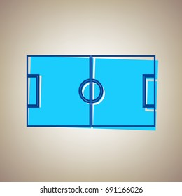 Soccer field. Vector. Sky blue icon with defected blue contour on beige background.