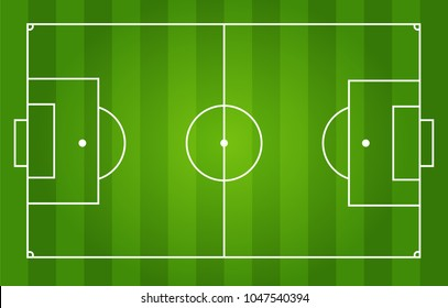Soccer field with white markings and realistic grass, top view.Vector