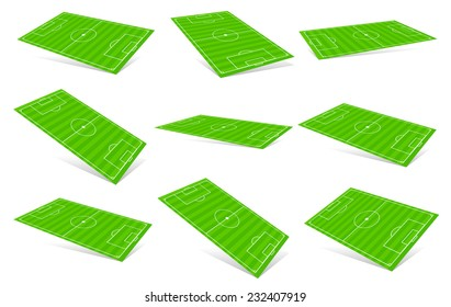 Soccer fields in different angles. 3D Soccer fields.