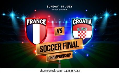 Soccer Final Match between France and Croatia, World Championship with stadium field background