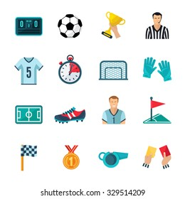 Soccer flat icons set with stopwatch football trophy and whistle isolated vector illustration