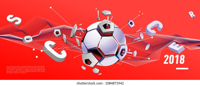 Soccer and footbal digital web banner and poster. Design template and background for news and sports.
