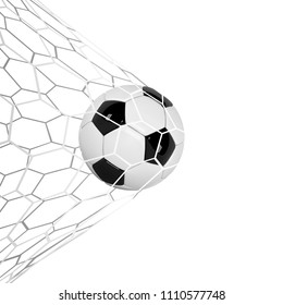 Soccer or Football 3d Ball isolated on white background. Football game match goal moment with realistic ball in the net and place for text.