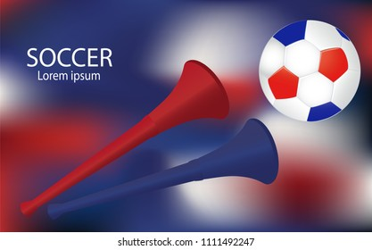 Soccer football backdrop vector. Vuvuzelas and ball on gradient blur background.