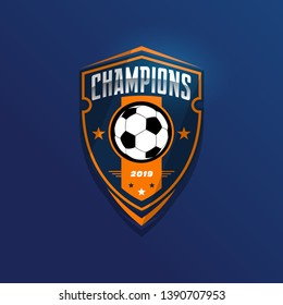 Soccer Football Badge Logo Design Templates | Sport Team Identity Vector Illustrations isolated on blue Background