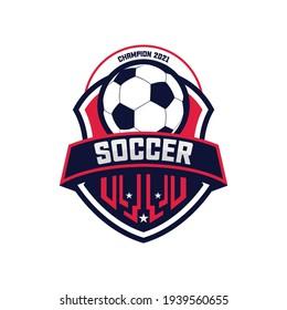 Soccer Football Badge Logo Design Templates | Sport Team Identity Vector Illustrations isolated on white Background