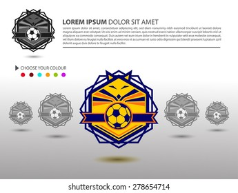 Soccer Football Badge Logo Design Template, Sport Team Identity isolated on White Background, Soccer Theme T Shirt and Website Template,Vector Illustration