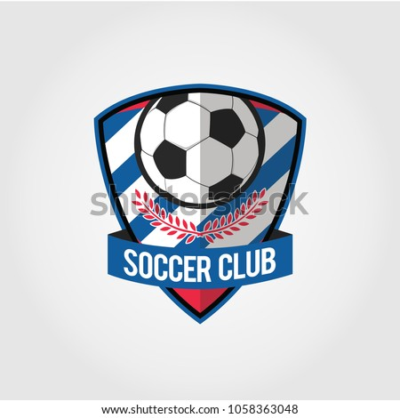 Soccer Football Badge Logo Design Templates Stock Vector Royalty