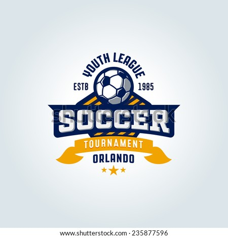 soccer football badge logo design template のベクター画像素材