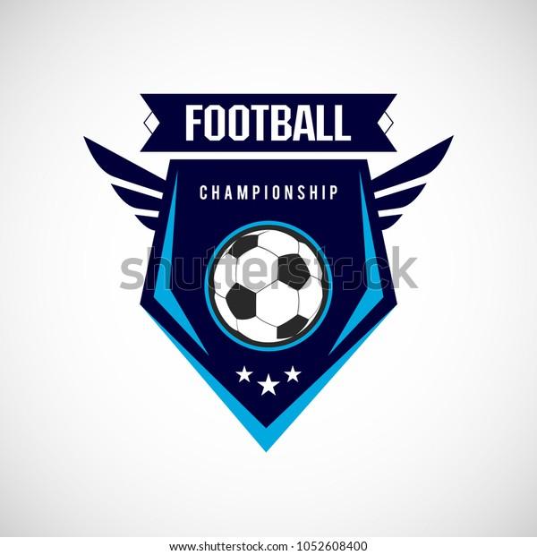 Soccer Football Badge Logo Design Templates Stock Vector