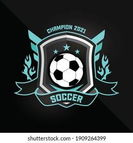 Soccer Football Badge Logo Mint green Design Templates. Sport Team Identity Vector Illustrations isolated on black Background