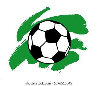 Soccer, football ball and artistic green brush stroke vector illustration isolated over white. Sport game equipment.