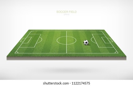 Soccer football ball in soccer field area and white background. Green grass of soccer field with pattern and texture in perspective views. Vector illustration.