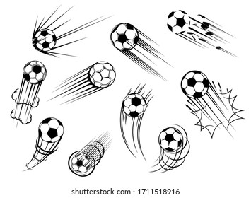 Soccer and football ball flying with goal kick trace, vector icons. Soccer sport club and football college team tournament and sport game match cup balls symbols