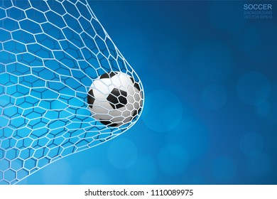 Soccer football ball in goal and soccer net with light blurred bokeh background for football sport. Vector illustration.