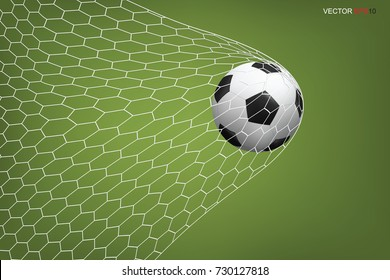 Soccer football ball in goal with white net and green field background. Vector illustration.