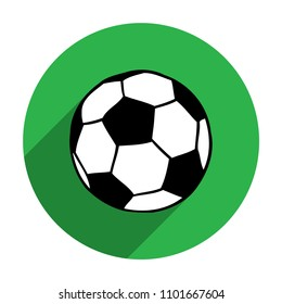 Soccer, football ball in green circle flat icon vector illustration isolated over white. Sport game equipment.