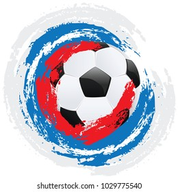 Soccer or Football ball and grunge colorful brush strokes design.