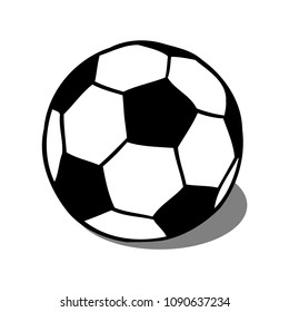 Soccer, football ball with shadow vector illustration isolated over white. Sport game equipment.