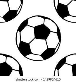Soccer, football balls seamless pattern in black and white. Sport game equipment vector background.