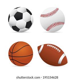 Soccer, Football, Basketball and Baseball