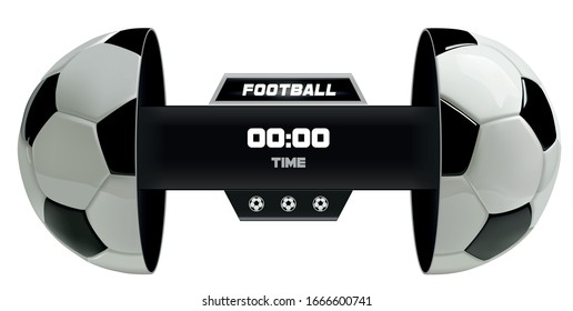 Soccer or Football Black Banner With 3d Ball and Scoreboard