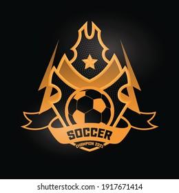 Soccer Football black gold Badge Logo Design Templates. Sport Team Identity Vector Illustrations isolated on black Background